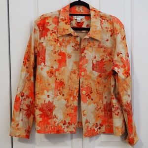 Coldwater Creek Jacket Buttons Floral Long Sleeves